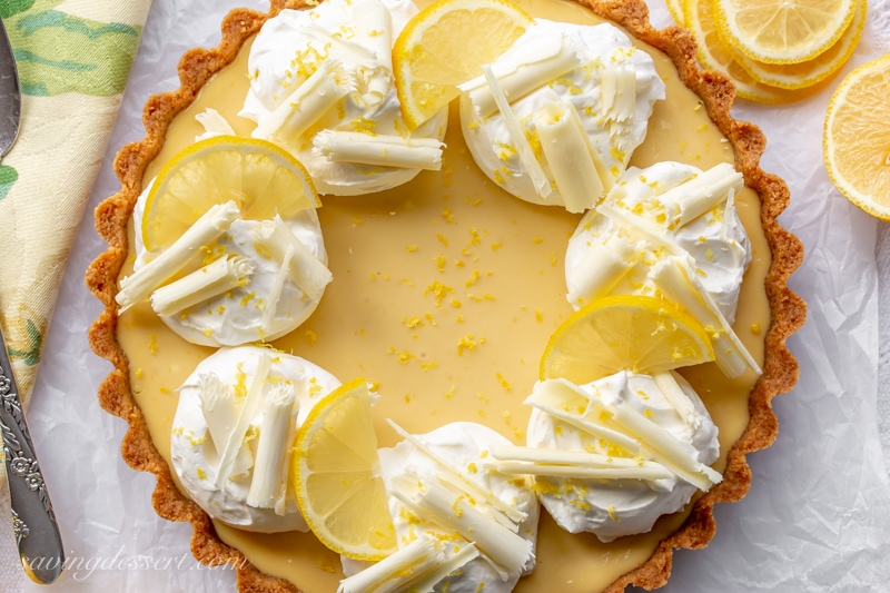 Easy Lemon Pie with White Chocolate Curls