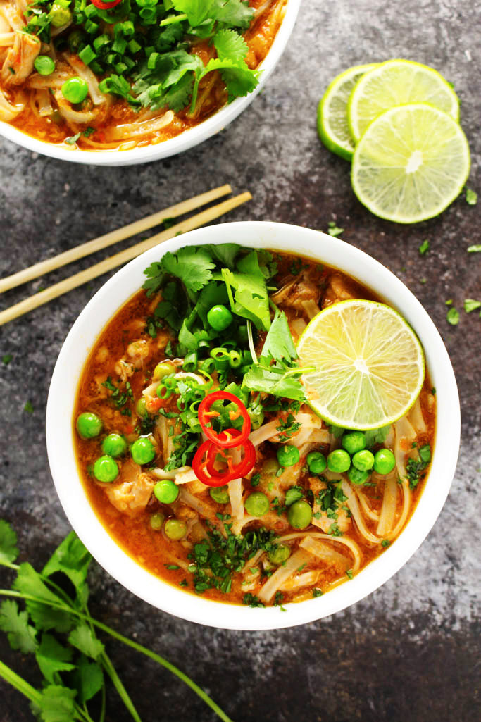 Easy Slow Cooker Thai Chicken Noodle Soup