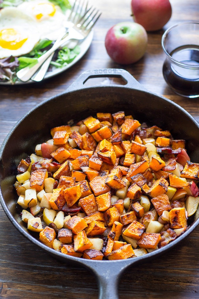 Roasted Butternut Squash Hash with Apples & Bacon {Paleo & Whole30}