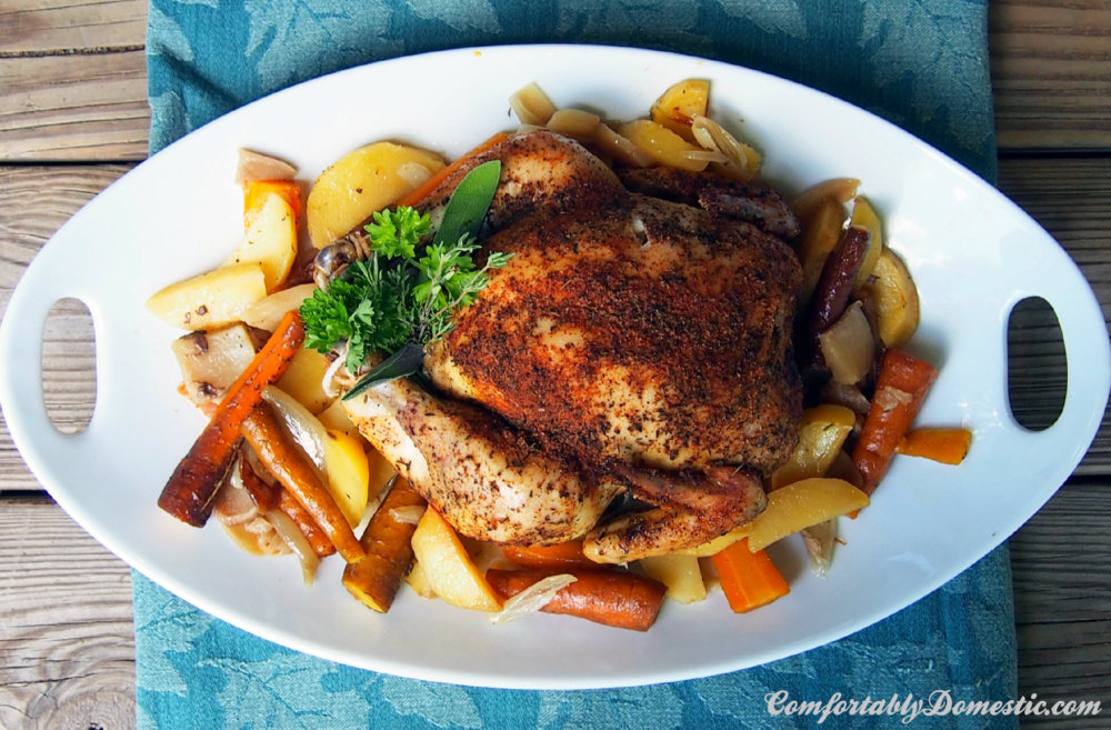 Slow Cooker Whole Roasted Chicken with Root Vegetables